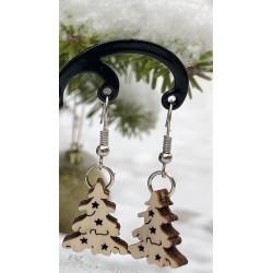 Weihnachtsbaum Holz-Ohrring...